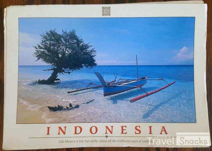 Faded and tattered, this is the postcard I got in 2000 because Gili Meno really did look just like that.