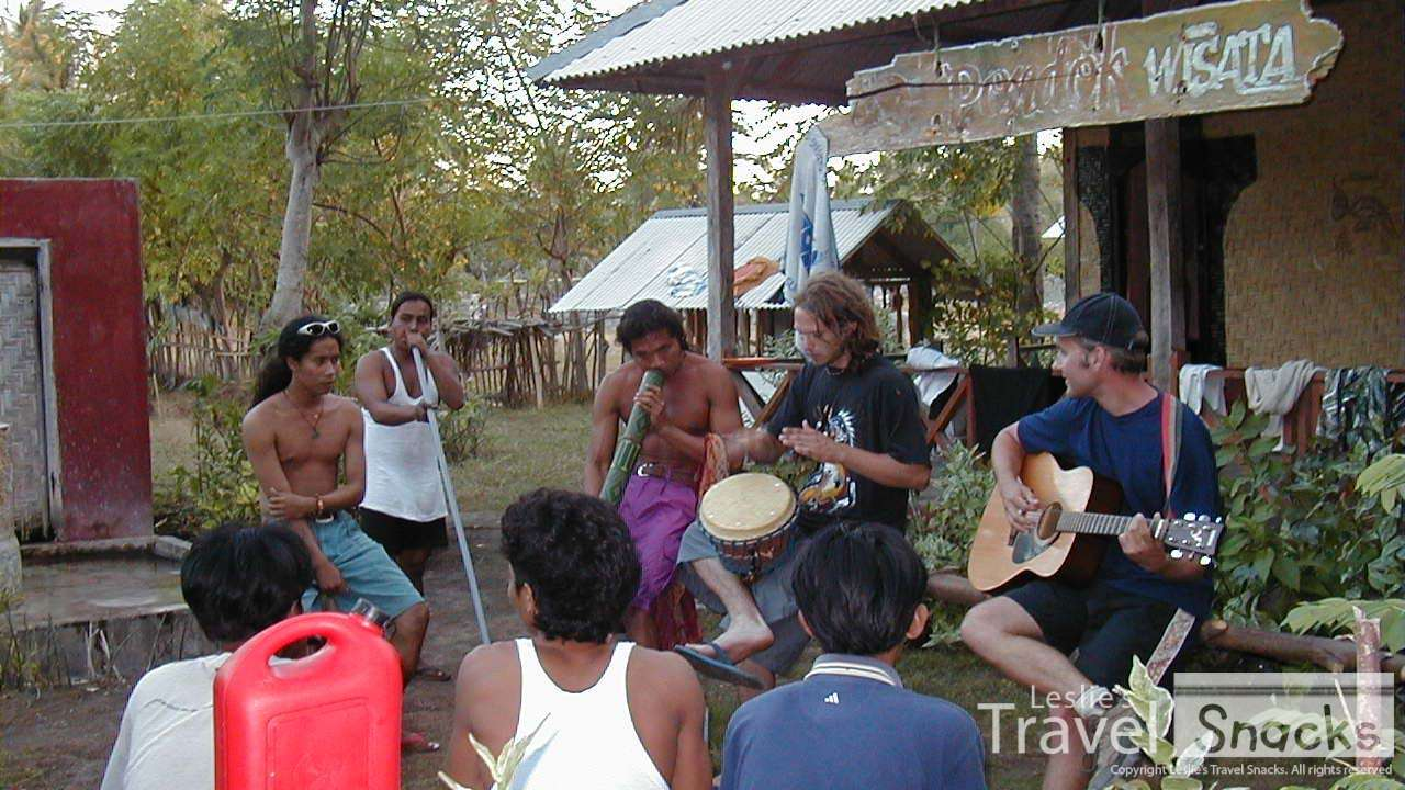 Playing music with some guys from our bungalow.