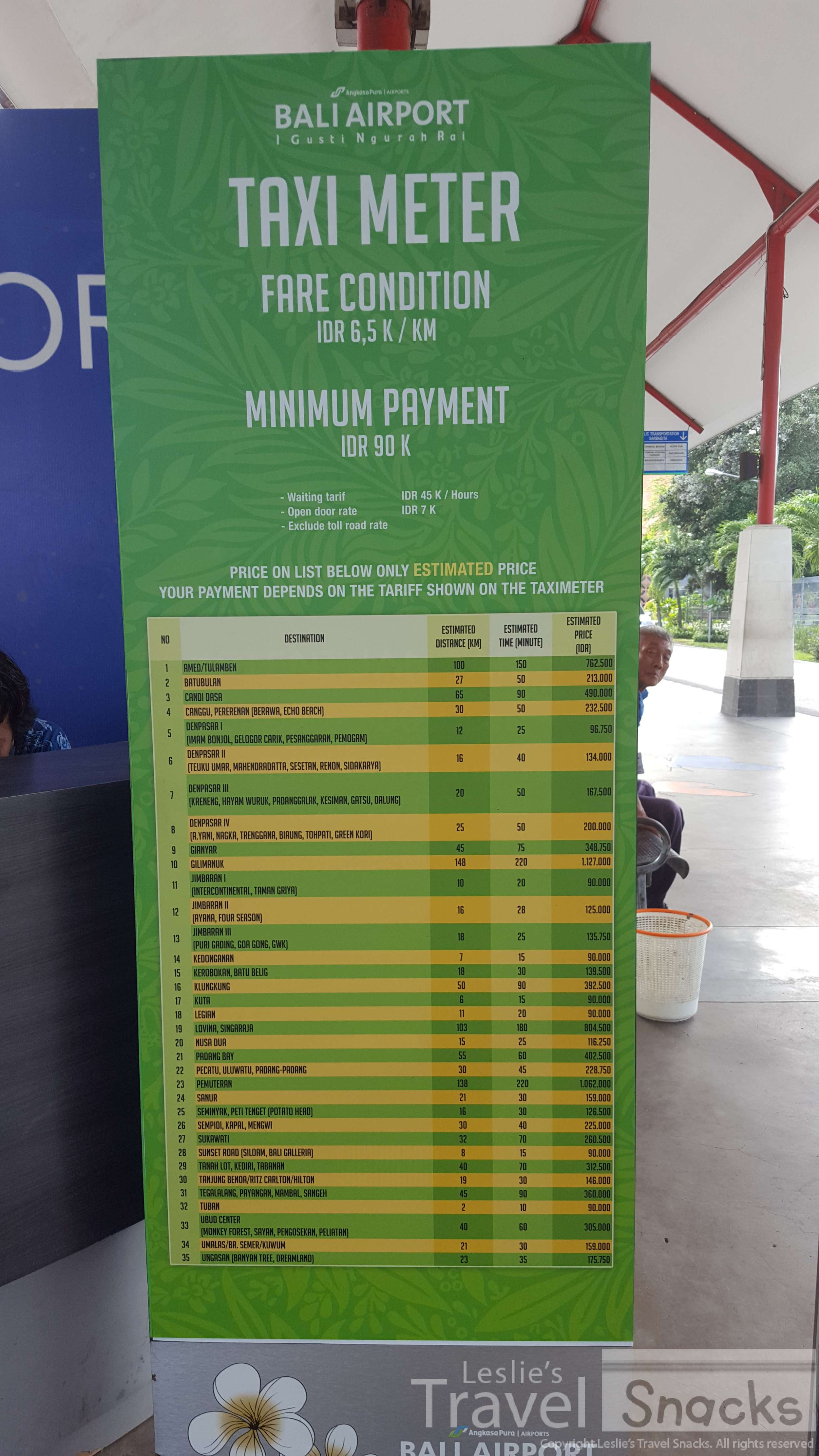 Posted airport taxi rates. Zoom in for prices.