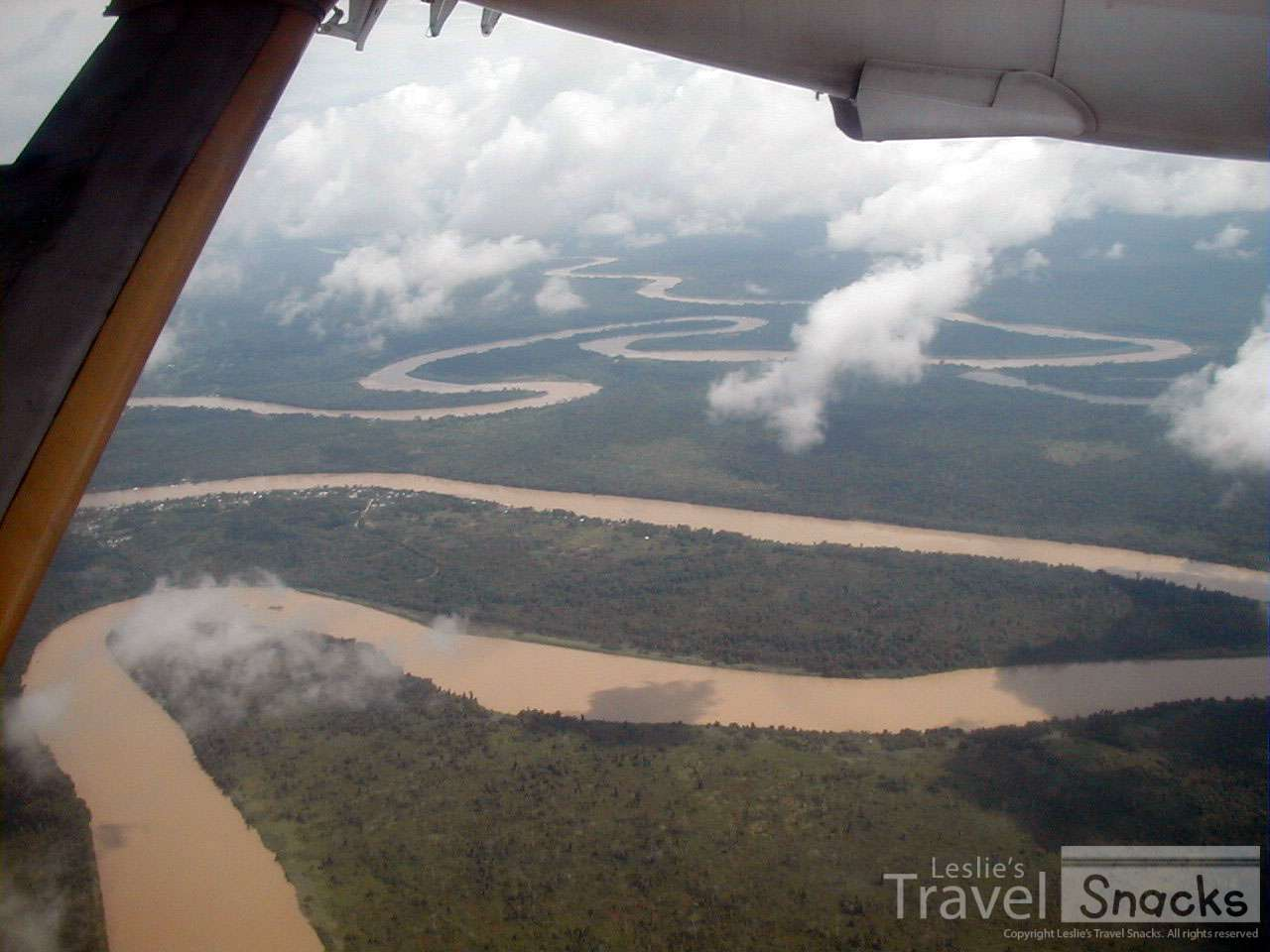 Flying over a winding river in Borneo.