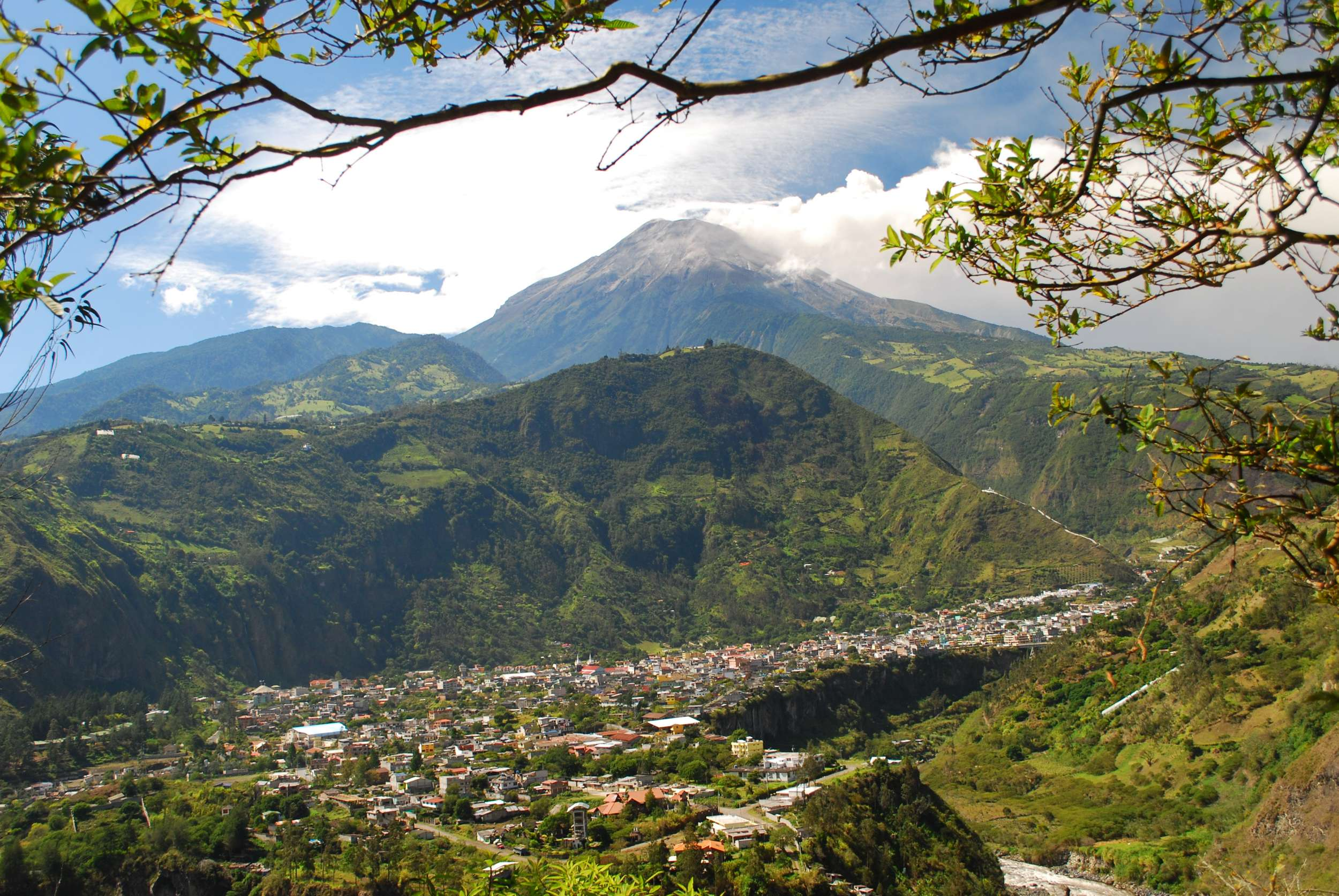 The small town of Baños at the base of an active volcano.