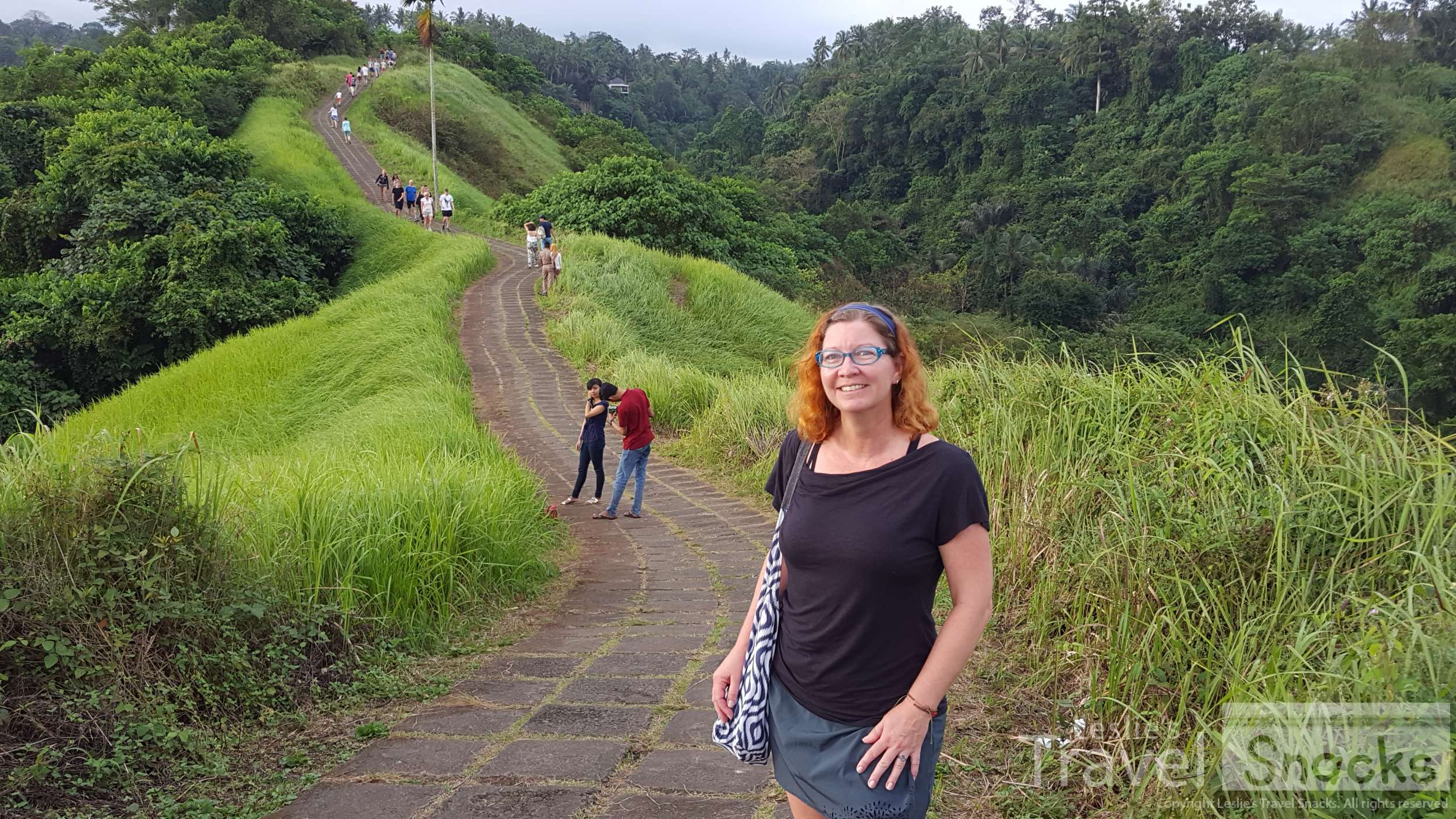 Athleta skort, Royal Robbins Noe top, Patagonia Barely sport bra, ExOfficio Give-n-Go undies, and a Love Bags Stash-It sling made a pretty cute and very functional outfit for this walk in Bali.