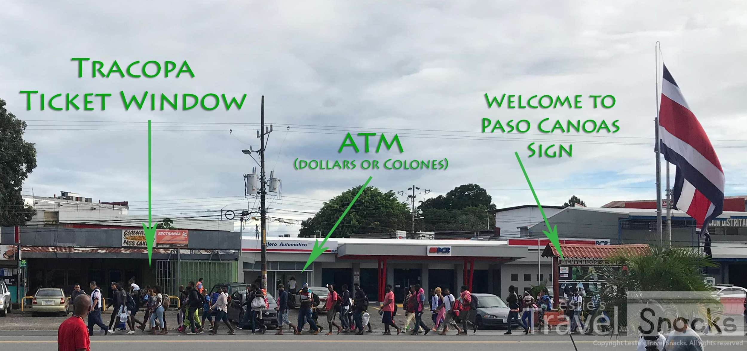 Here's where to buy your bus ticket in Paso Canoas. There's an ATM right next door that will give you either US dollars or colones.