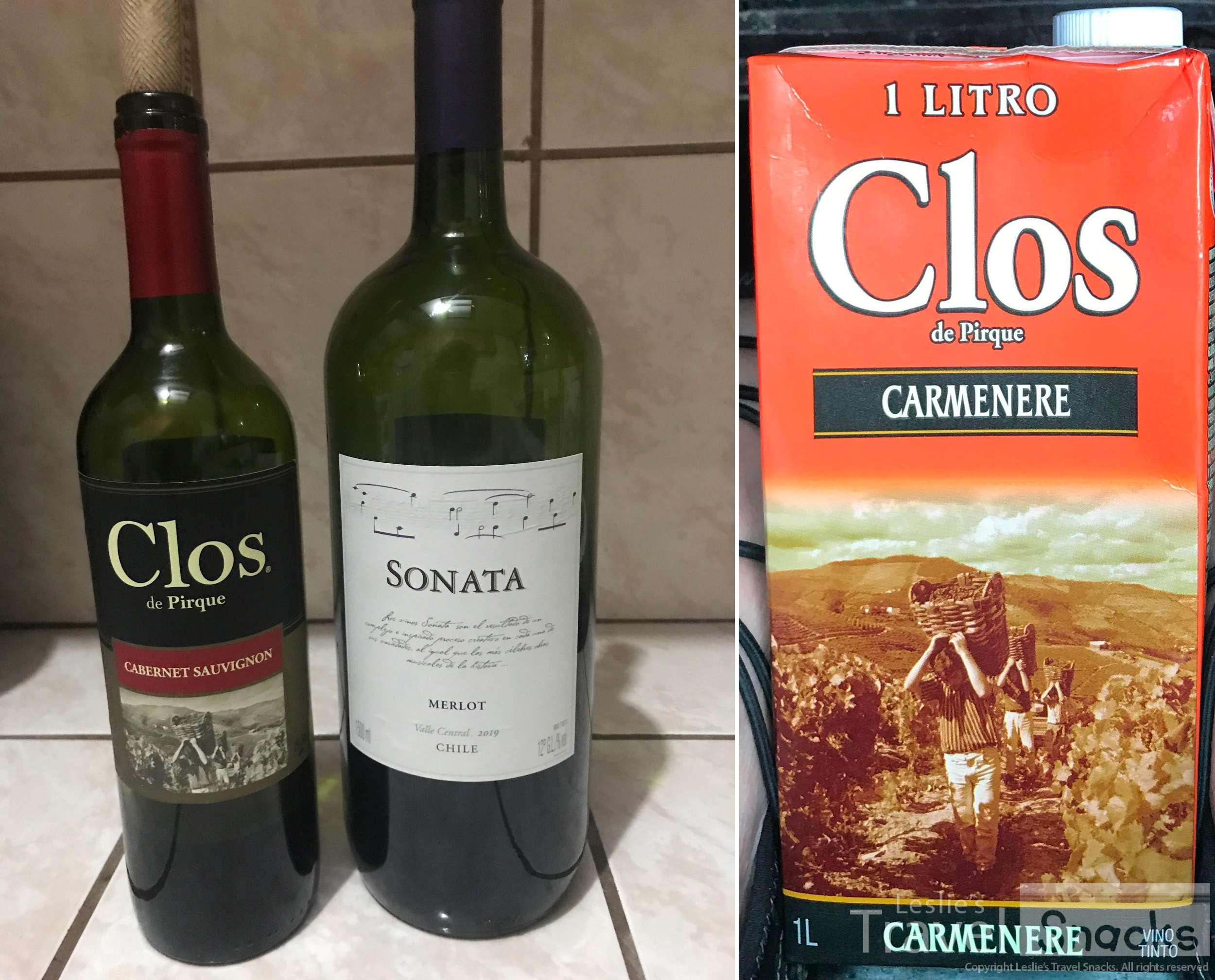 Two decent budget options at around $5/bottle.  My friend Carmenere! I had to get this in honor of Cynthia! :) It was about $7 for the liter.