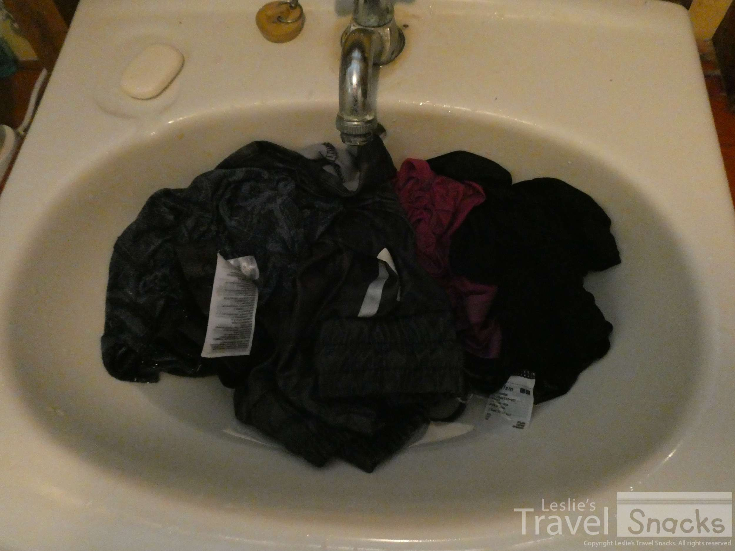 Just rinse your clothes in the sink. It's a lot less messy and more efficient.