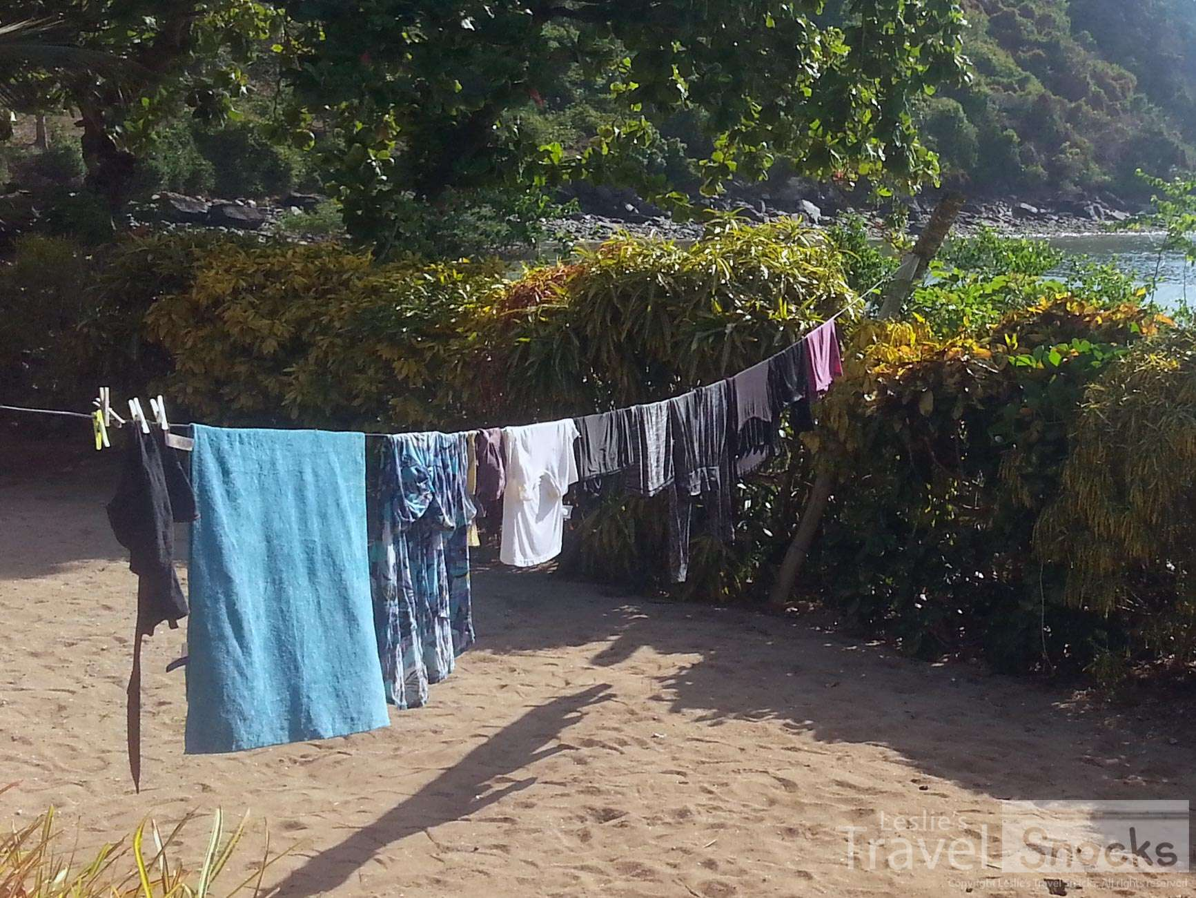 Hanging laundry is a common sight around any budget traveler accommodation!