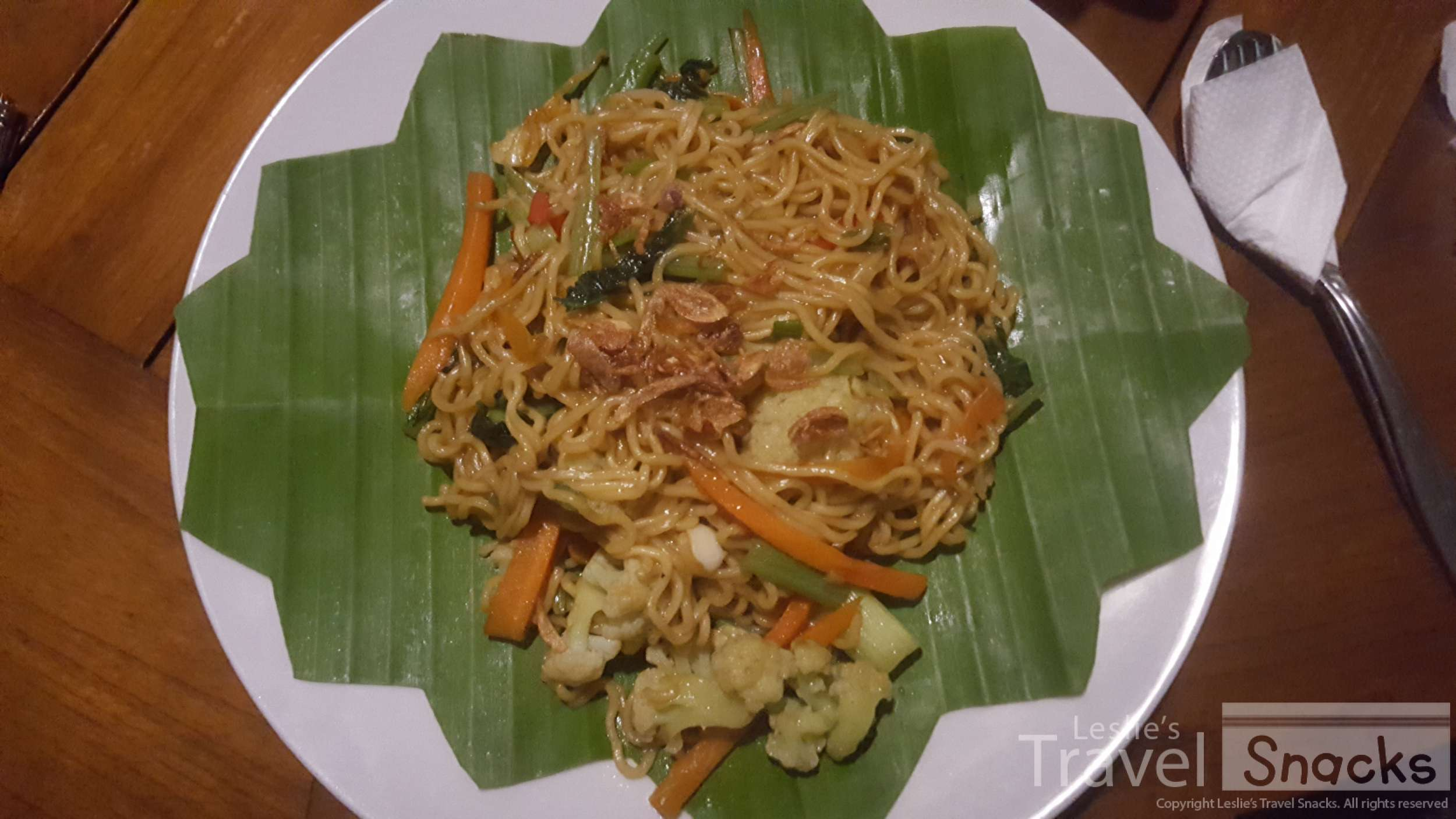 Vegetarian mei goreng, a typical meal in Indonesia