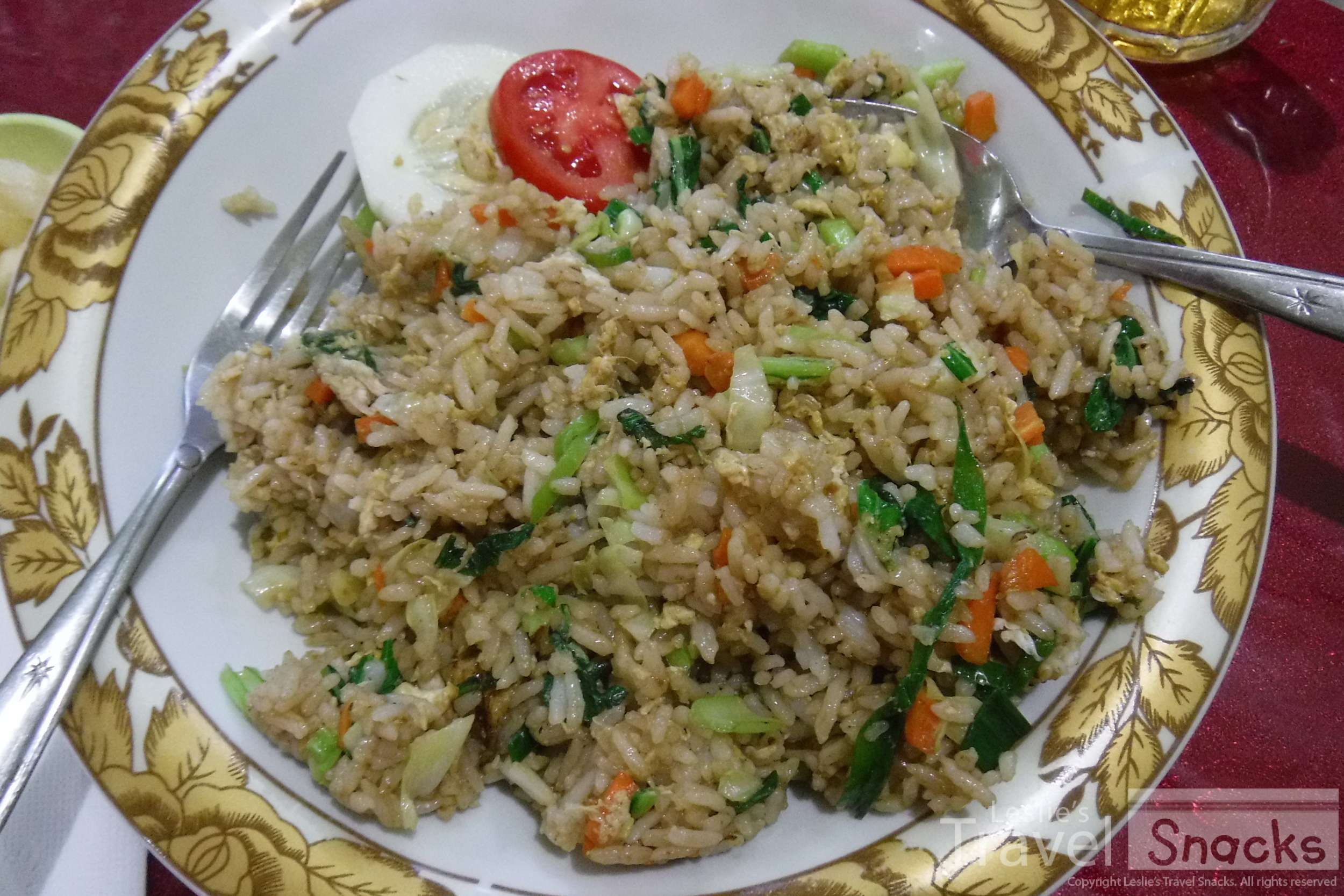 Vegetarian nasi goreng, a typical meal in Indonesia