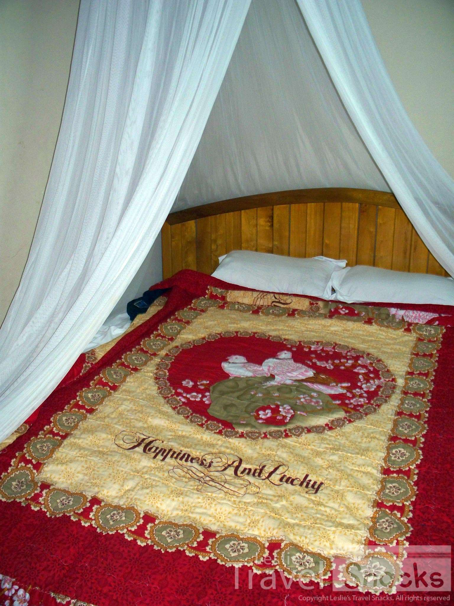 Mosquito nets can conjure visions of an exotic luxurious (maybe even romantic?) bed. How do you like that bedspread?! LOL