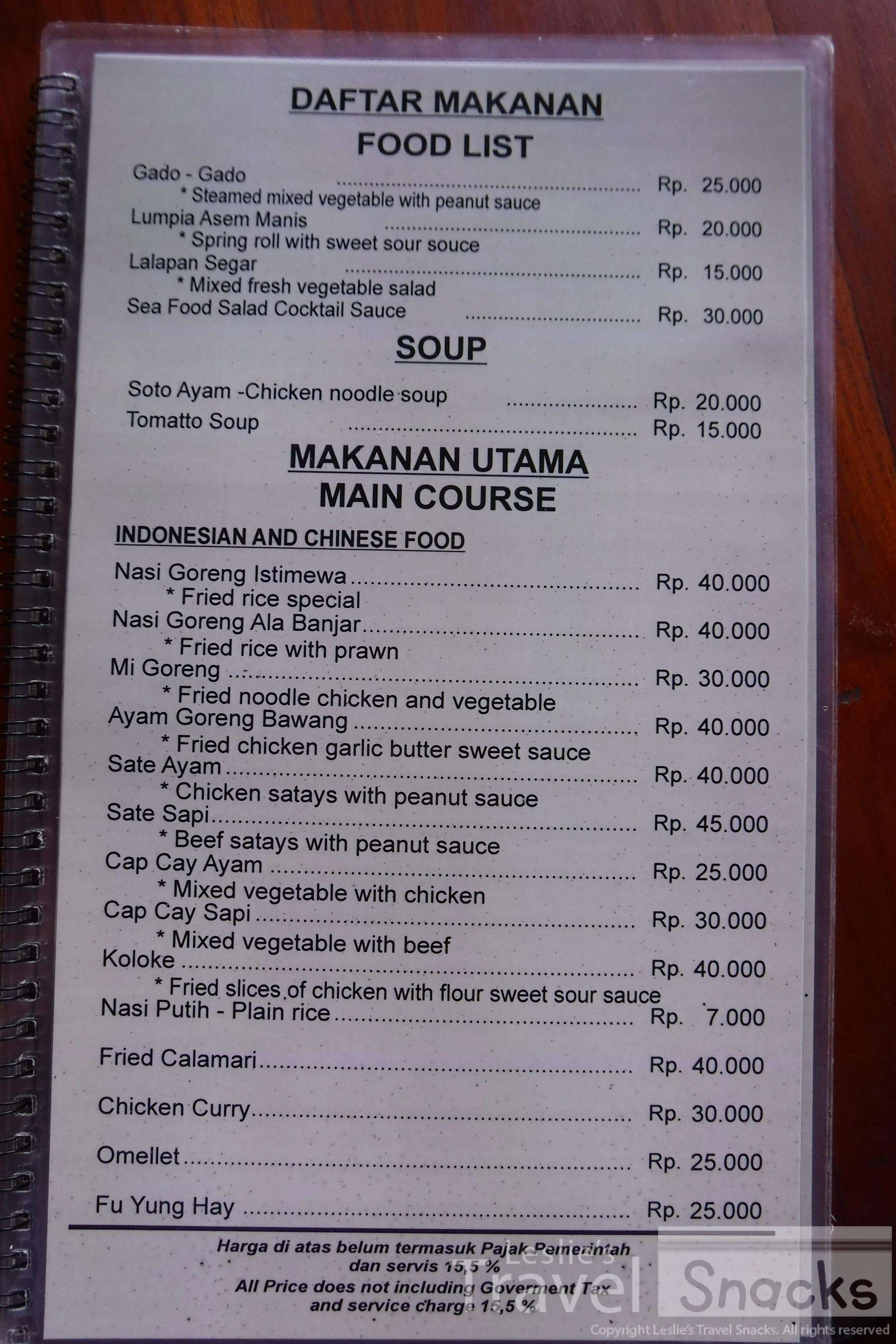 Good selection of local food on the menu at good prices for a tourist attraction.